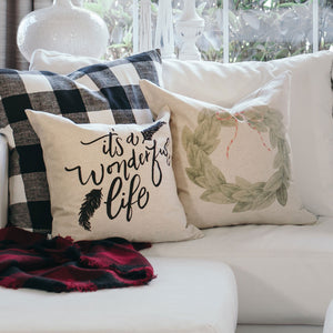 It's a Wonderful Life Pillow Cover - Linen and Ivory
