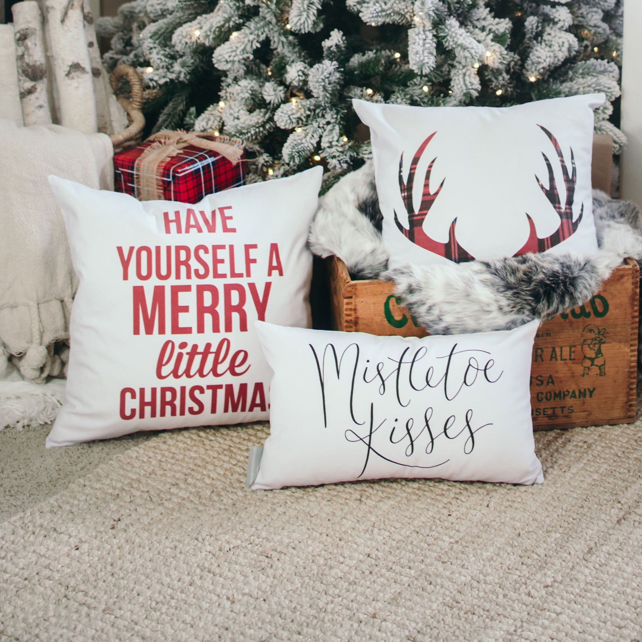 merry little christmas pillow cover red