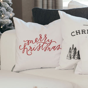Merry Christmas Pillow Cover - Linen and Ivory