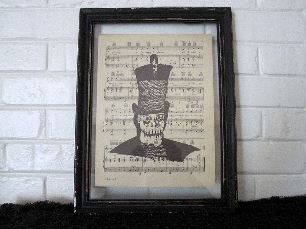 Skeleton Man Art Print on Vintage Music Sheet