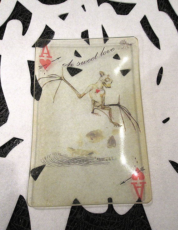 Aces Skelton Bat and Skull Glass Tray