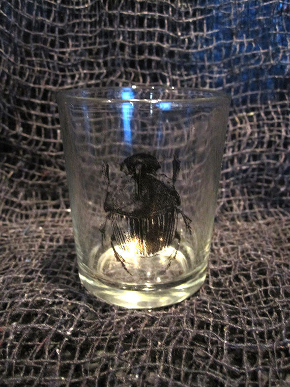 Glass with Beetle Tea Light Candle Holder
