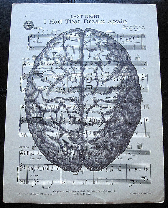 Brain Art Print on Vintage Music Sheet