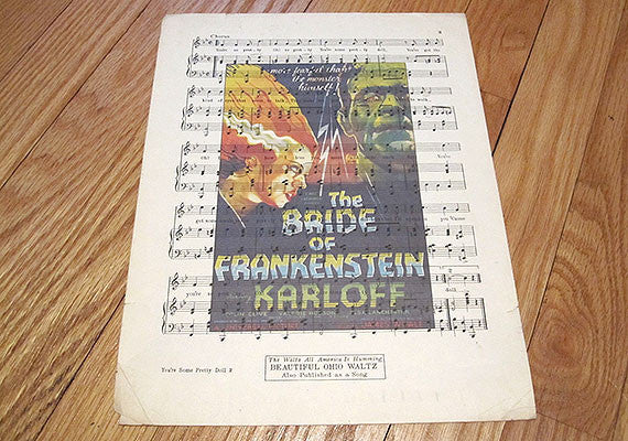 Bride of Frankenstein Art Print on Vintage Music Sheet
