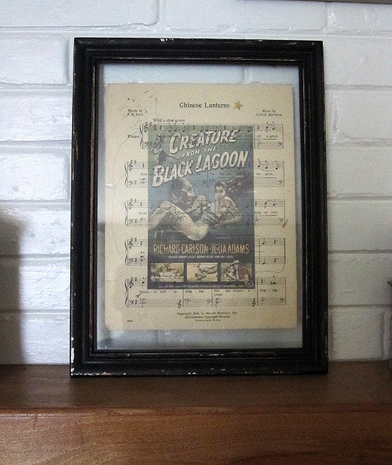 Creature from the Black Lagoon Art Print on Vintage Music Sheet