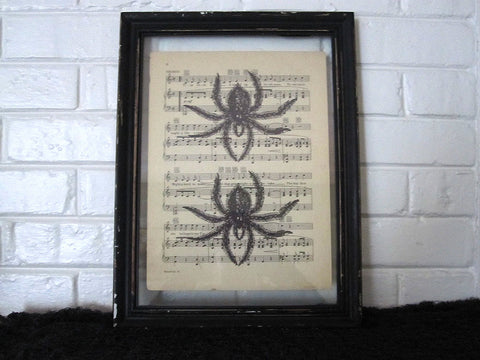 Double Spider Art Print on Vintage Music Sheet