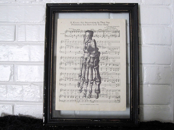Skeleton Foot Art Print on Vintage Music Sheet