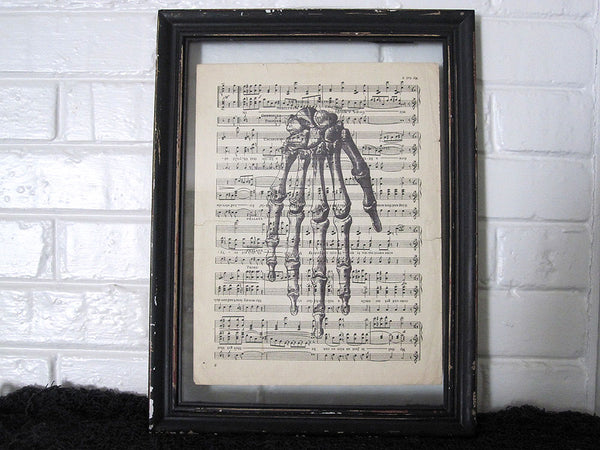 Skeleton Hand Art Print on Vintage Music Sheet