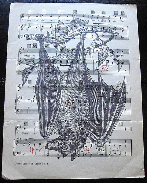 Hanging from a Branch Bat Art Print on Vintage Music Sheet