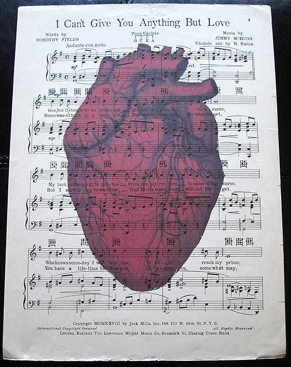 Blood Red Heart Art Print on Vintage Music Sheet