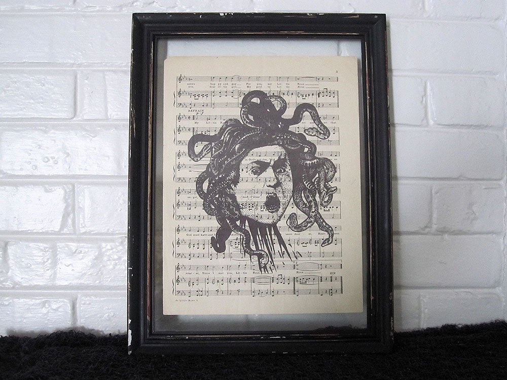 Medusa's Head Art Print on Vintage Music Sheet
