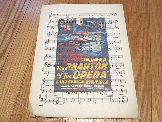 Phantom of the Opera Art Print on Vintage Music Sheet
