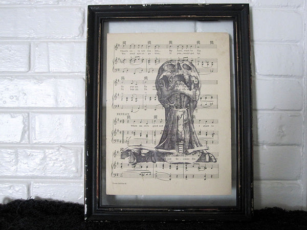 Screaming Human Skull Art Print on Vintage Music Sheet