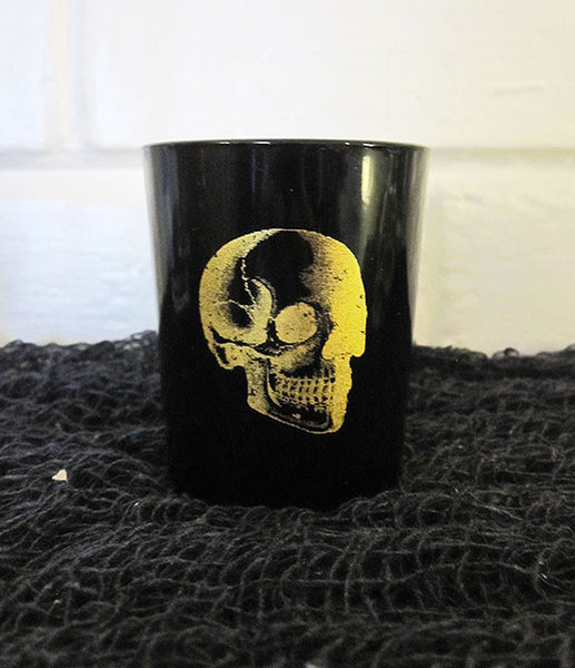Black with Gold Skull Tea Light Candle Holder