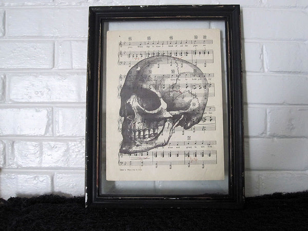 Skull Art Print on Vintage Music Sheet