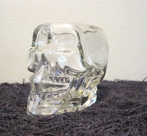 Glass Skull Tea Light Holder