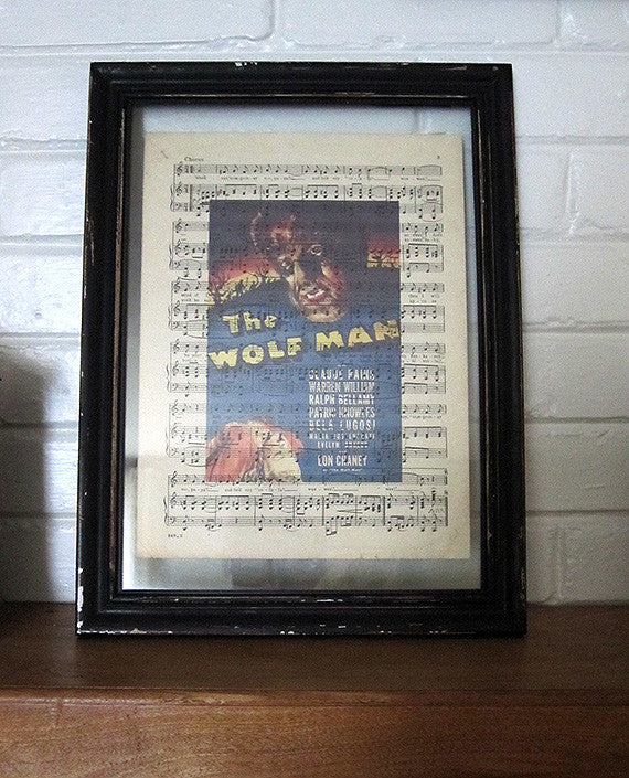 Wolfman Art Print on Vintage Music Sheet