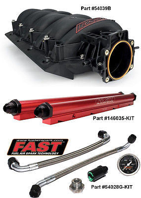 New Black FAST LSX 92mm GM LS1 LS2 LS6 Intake, Billet Fuel Rails, Lines & Gauge