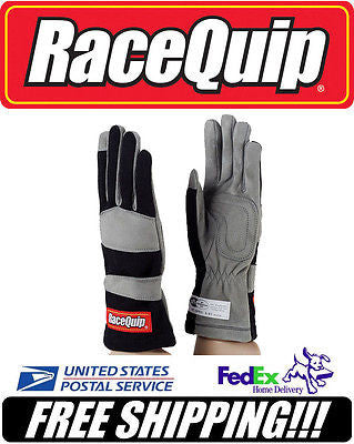 RaceQuip BLACK XL X-Large SFI 3.3/1 1-Layer Racing Race Driving Gloves #351006