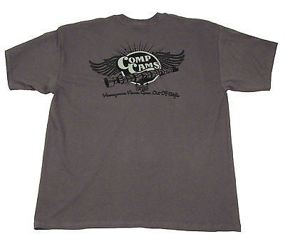 Brand New COMP Cams Small S Charcoal Gray Wings Short Sleeve T-Shirt #C1023-S