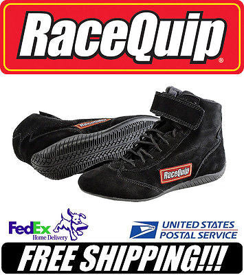 RaceQuip SFI 3.3/5 Black Suede Leather Racing/Driving Shoes Size 8 #30300080