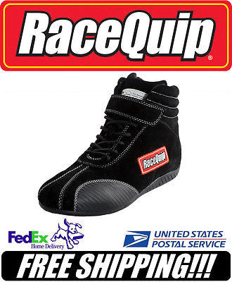 RaceQuip SFI 3.3/5 Black Suede Leather Euro Carbon Racing Shoes Size 8 #30500080