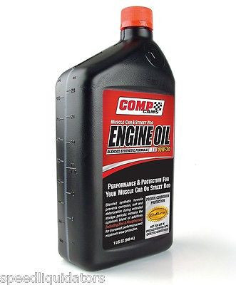 1 Quart Comp Cams Muscle Car & Street Rod 15W-50 Engine Oil w/Zinc & Phosphorus - Speed Liquidators, Performance Aftermarket Automotive Parts, FAST Shipping Additives & Oils - COMP Cams, FAST, Lunati, Racequip, TCI, ZEX, Racing, Hot Rod, Nitrous, Camshaft Driven Racing Oil - Speed Liquidators