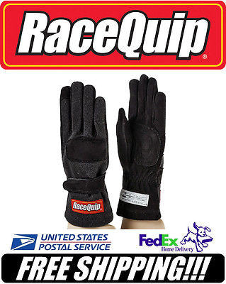 RaceQuip BLACK Youth L Large SFI 3.3/5 2-Layer Racing Driving Gloves #355095