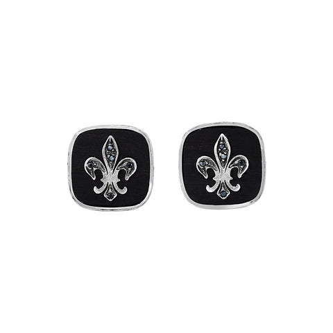 Cufflink Black Fleur De Lis Insert In Black Square