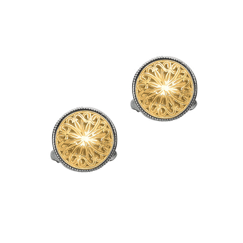 Cufflink 18K Gold+Sterling Silver Shield