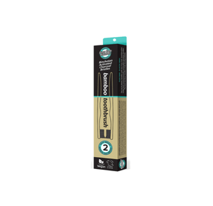 Essenzza Bamboo Activated Charcoal Medium Toothbrush 2 Pack