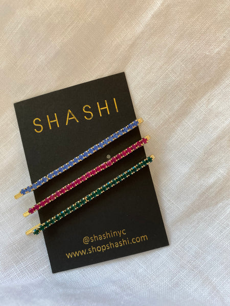 Coloured Stone Bobby Pin Set