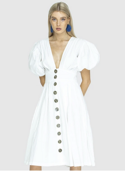 Jaime Mid Length Buttonup Dress - White