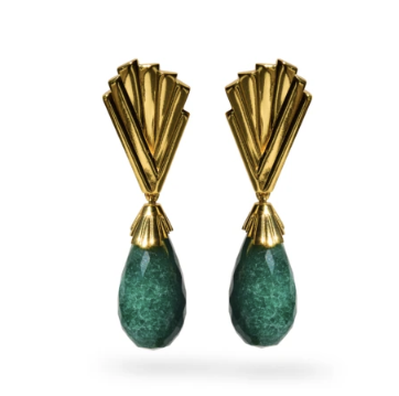Whitney Earrings | Large Emerald Quartz Drops
