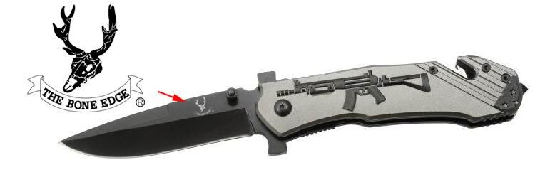 "Gray 8"" Heavy Duty Folding Spring Assisted Knife w/ Gun Design - Sun-Blades"