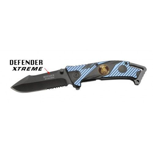 "8"" Blue & Black Folding Spring Assisted Knife Heavy Duty Steel New w/ Police Plate"