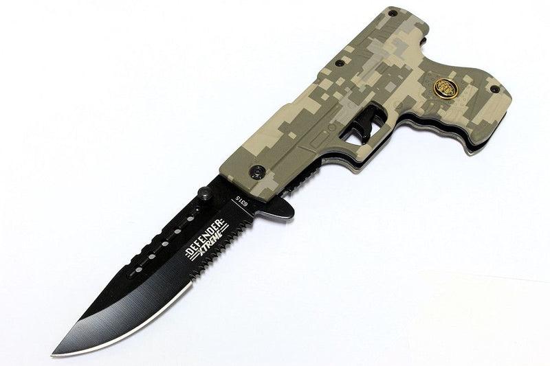 "8"" Digital Camo Gun Style Spring Assisted Knife with Belt Clip - Sun-Blades"