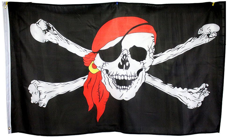 3x5 Super Polyester Red Bandana Pirate Flag indoor Outdoor - Sun-Blades