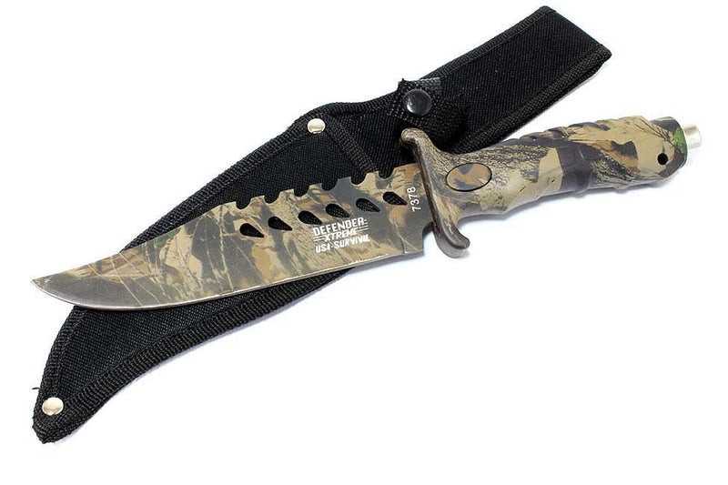 "10.5"" Fixed Blade Camouflage Hunting Knife Stainless Steel - Sun-Blades"