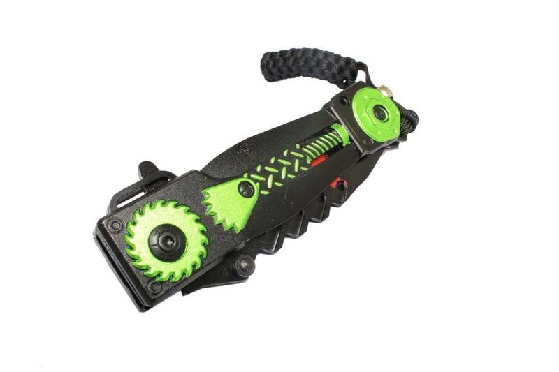 "8"" Saw Spring Assisted Knife with Serrated Stainless Steel Blade - Green - Sun-Blades"