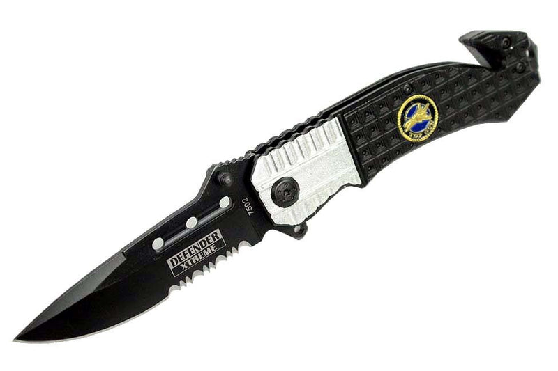 "8"" Defender Xtreme Black and Silver Spring Assisted Knife with Belt Clip - Sun-Blades"