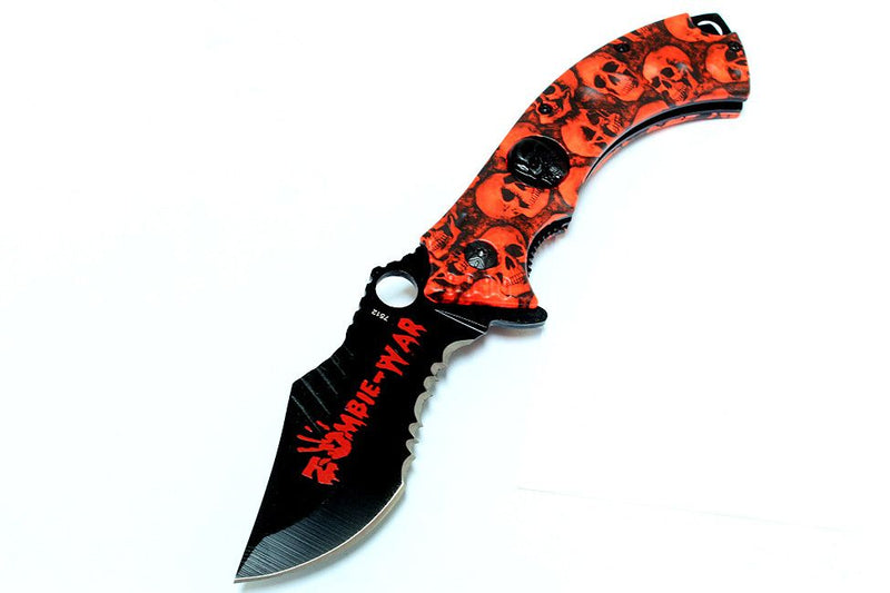 "8"" Red Zombie-War Spring Assisted Knife Skull Head Blade with Belt Clip - Sun-Blades"