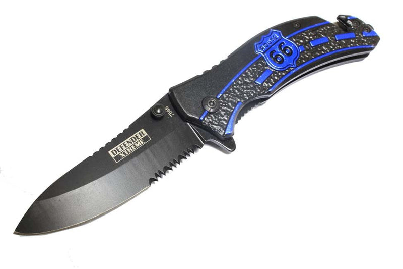 "8"" Defender Extreme Spring Assisted Knife with Serrated Stainless Steel Blade - Blue - Sun-Blades"