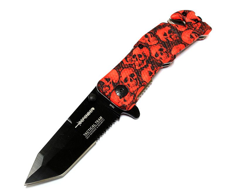 "8"" Red Blood Zombie Handle Tactical Team Spring Assisted Knife with Belt Clip - Sun-Blades"