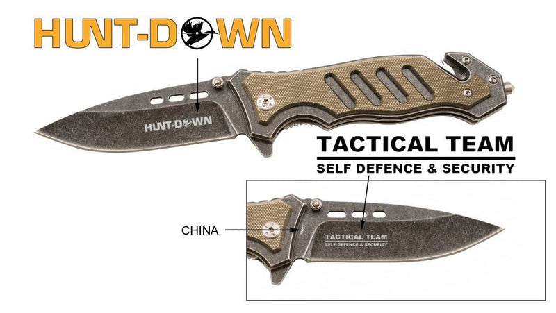 "8"" Huntdown Brown Spring Assisted Stone Wash Blade  with Clip & Belt Cutter - Sun-Blades"