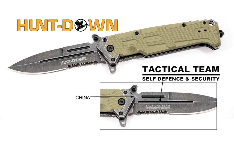 "9"" Huntdown Spring Assisted  Blade Beige Handle with Clip & Belt Cutter - Sun-Blades"