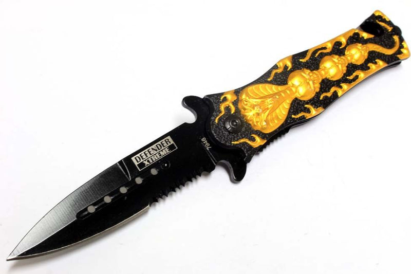 "8"" Defender Xtreme Spring Assisted Cobra Skull Design Knife with Serrated Stainless Steel Blade - Gold - Sun-Blades"