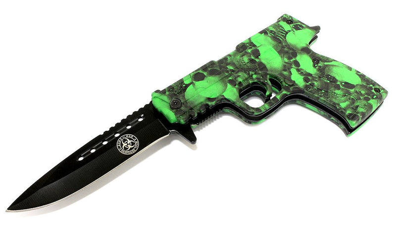 "8.5"" Spring Assisted Folding Zombie Gun Knife Green Skull Handle"