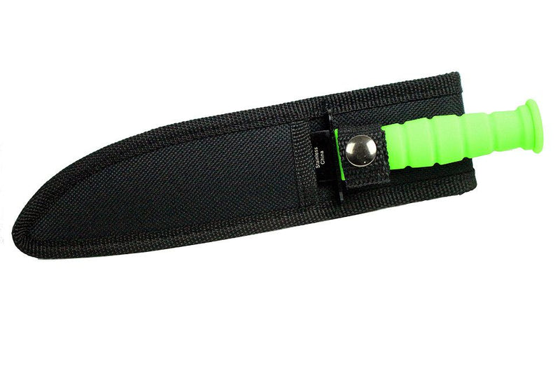 "7.5"" Defender Mini Hunting Knife Serrated Green with Sheath - Sun-Blades"