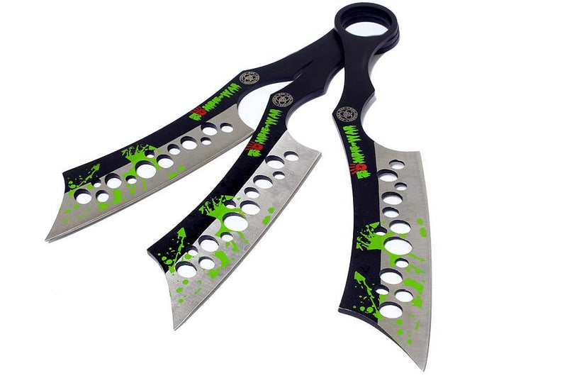 Set of 3 Zombie-War Throwing Knives with Sheath - Sun-Blades